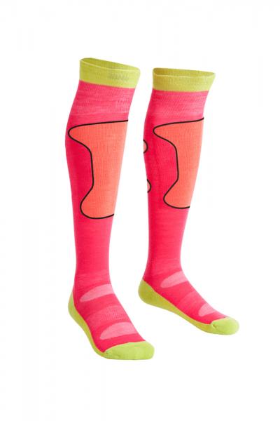 Mons Royale Pro Lite Tech Sock, Pink/Coral/Lime