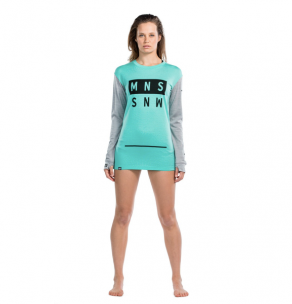 Mons Royale Boyfriend LS Mint/Grey Marl