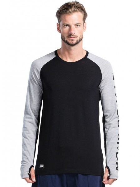 Mons Royale Temple Tech LS GEO Black/Grey Marl