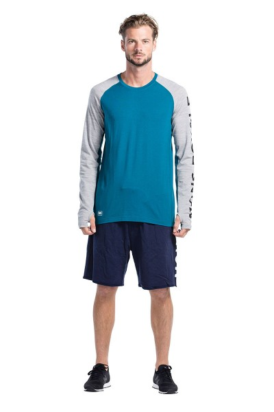 Mons Royale Temple Tech LS GEO Blue Steel/Grey Marl-Copy