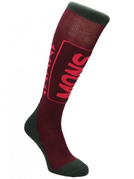 Mons Royale Snow Tech Sock, Burgundy/Forest Green/Raspberry